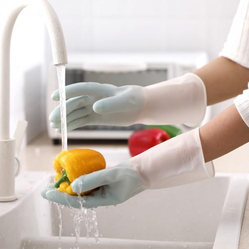 半透明橡膠手套 居家清潔手套 防滑耐用廚房手套 洗衣洗碗手套