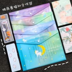 獨角獸A4文件夾 創意PVC防水資料袋 A4辦公學生按扣收納袋 資料夾